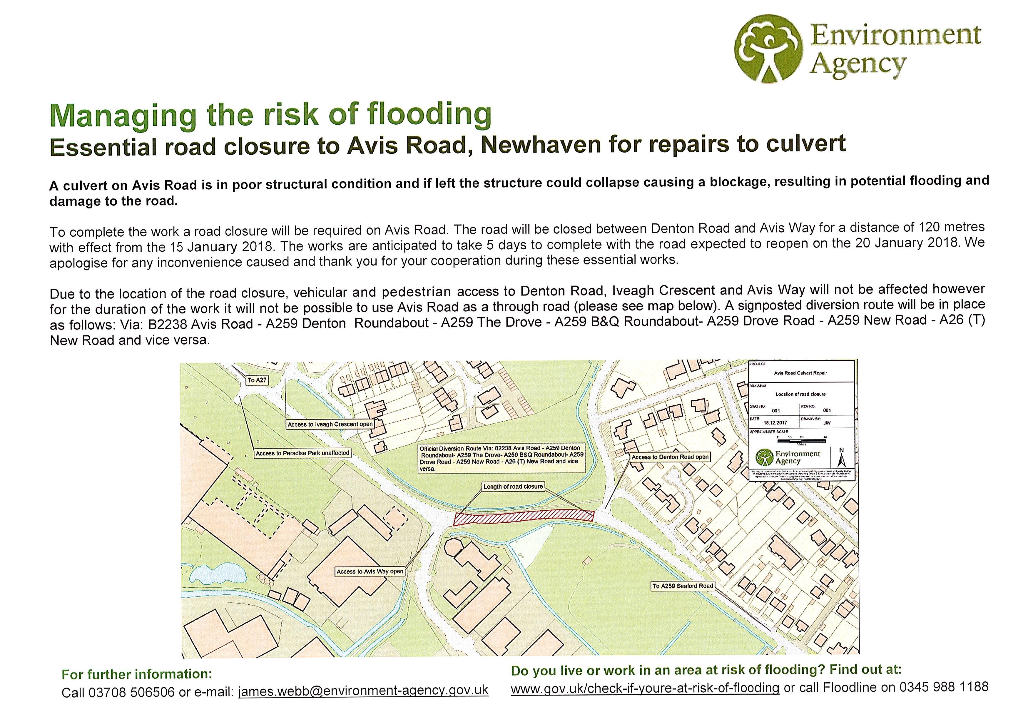 Avis Road Closure - Newhaven Town Council